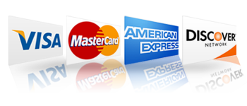 We acceot Visa, MasterCard, American Express and Discover Cards.